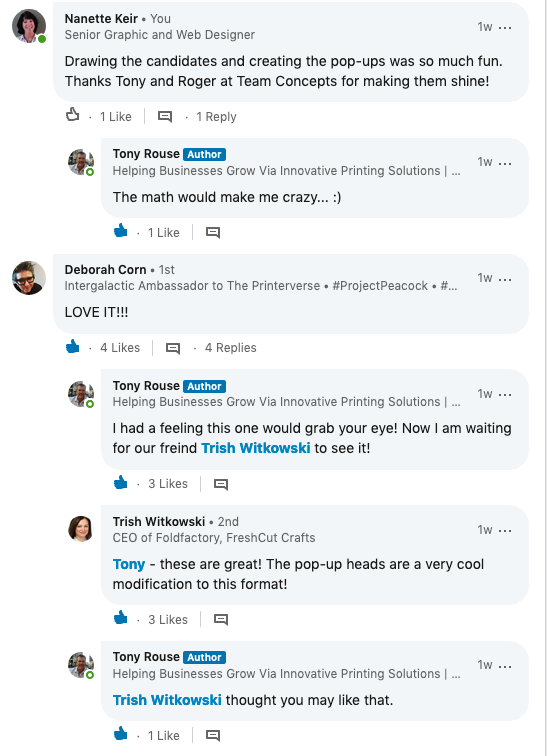 Responses to Team Concept LinkedIn Post